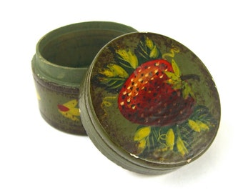 Vintage Miniature Toleware Trinket Box, Tole Painted Signed Copeland, Antiqued, Hand Painted, Strawberry Olive Green
