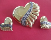 Vintage heart brooch and matching earrings