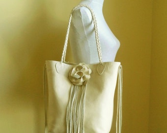 cream white leather, handbag, tote with flower rose and fringe by Tuscada. Ready to ship.
