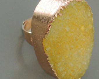 Druzy Ring - Gold Ring - Yellow Ring - Druzy Ring - Statement Ring - Boho Ring - Adjustable Ring - handmade jewelry