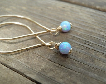 Gold Opal Earrings, Minimalist Earrings, Unique Dangle Earrings, Blue Opal White/Pink Opal, October Birthstone, Gift For Her, Valentine Gift