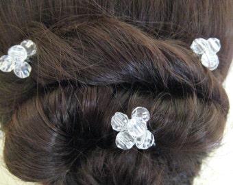 Crystal Bead Hair pins x 6. Handmade. Bridal, Wedding, Prom
