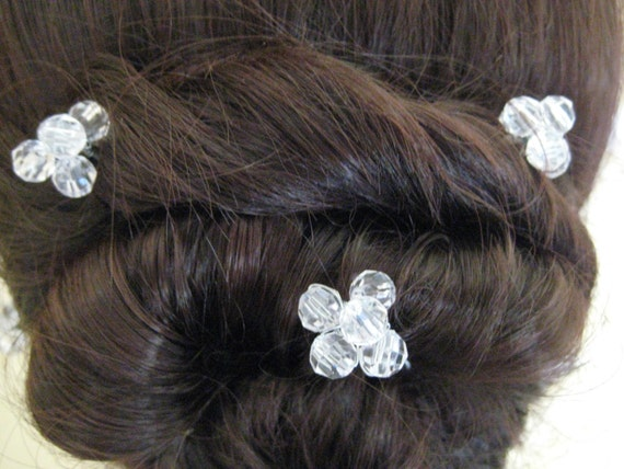 Crystal Bead Hairpins x 6. Handmade. Bridal, Wedding, Prom