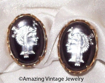 QUEEN of the NILE Earrings - Sarah Coventry - 1958  Cameo, Mother of pearl