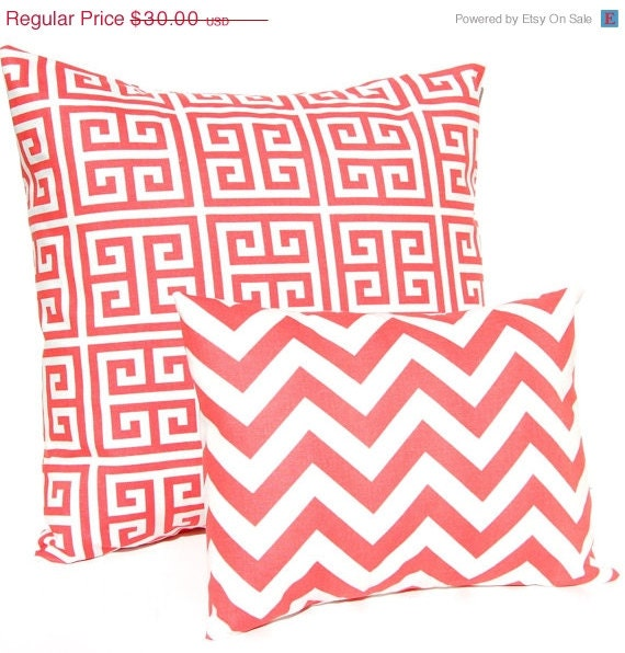 SALE Coral Throw Pillow Covers Greek Key and by FestiveHomeDecor