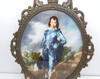 Vintage Blue Boy in Oval  Metal Frame
