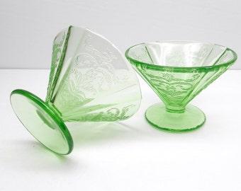 Vintage  Madrid Green Depression Glass Sherbets