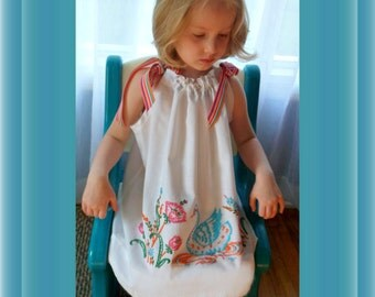 Toddler Dress Hand Embroidered sz 18 mos to 36 mos hand made from vintage pillowcase
