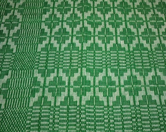 Emerald Green 19th Century Linsey Woolsey Jacquard Overshot Coverlet Piece - 28 by 23 Inches