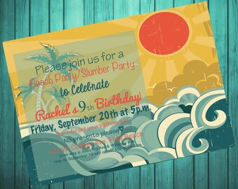 Digital Personalized Beach Birthday Invitation...Retro Beach Invitation-Printable-DIY-5x7