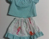 "Baby Alive  And Waldorf Doll Clothes Flirty Ruffled Skirt and Peasant top 10"" 12"" Or 15"""