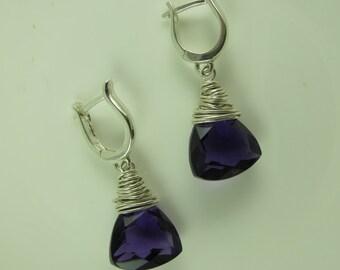 Amethyst Earrings, European Leverback Earwires, Sterling Silver, Purple Dangle Earrings, Everyday Drop Earrings, Mother's Day Gift