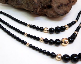Vintage 70s  -  3 Strand Black and Gold Bead Necklace