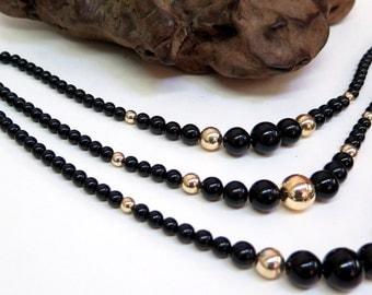 Choker Style Bead Necklace Black & Gold 3 Strand Vintage 70s Bib Necklace