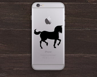 Trotting Horse Silhouette Vinyl iPhone Decal BAS-0306