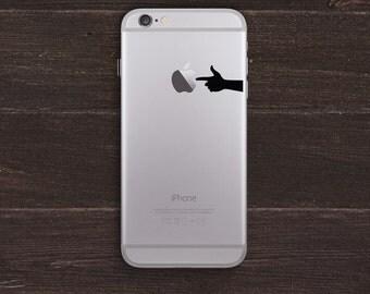 Finger Gun, Hand Silhouette Vinyl iPhone Decal BAS-0254