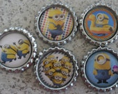5 x Minion Inspired Flattened Silver Bottle Caps - Great for Jewellery, Cards, Keyrings