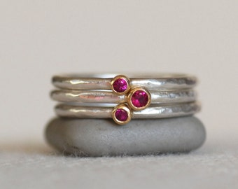 Tiny Ruby Ring Set - 18k Gold and Silver Stack Rings - Set of 3 Ruby Stack Rings - Eco-Friendly Recycled