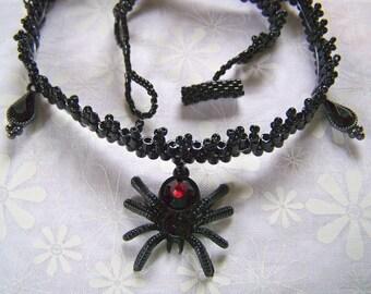 Spider Choker Beadwoven Black Widow  Victorian Gothic