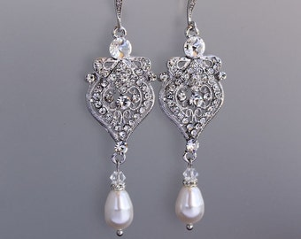 Chandelier Bridal Earrings, Crystal Drop Earrings, Crystal Chandelier Earrings, Pearl Drop Earrings, Bridal Jewelry, LUCY2