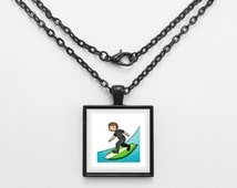 Surfboard Emoji Necklace or Keychain