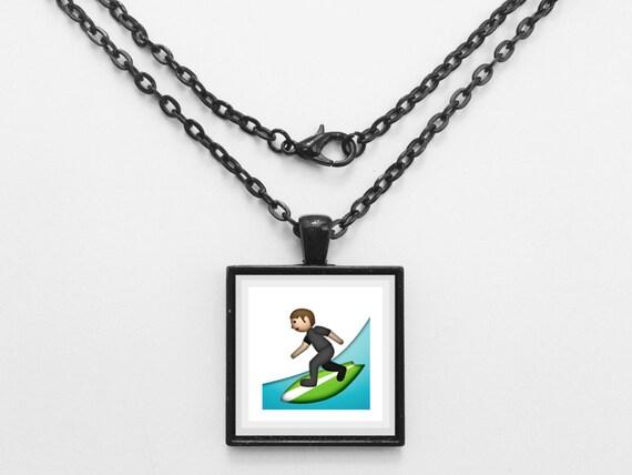Surfboard Emoji Necklace or Keychain