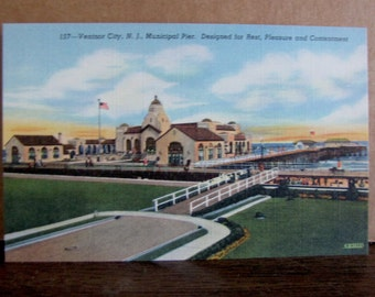 1940s Ventnor NJ Jersey Shore Seashore Vintage Postcard