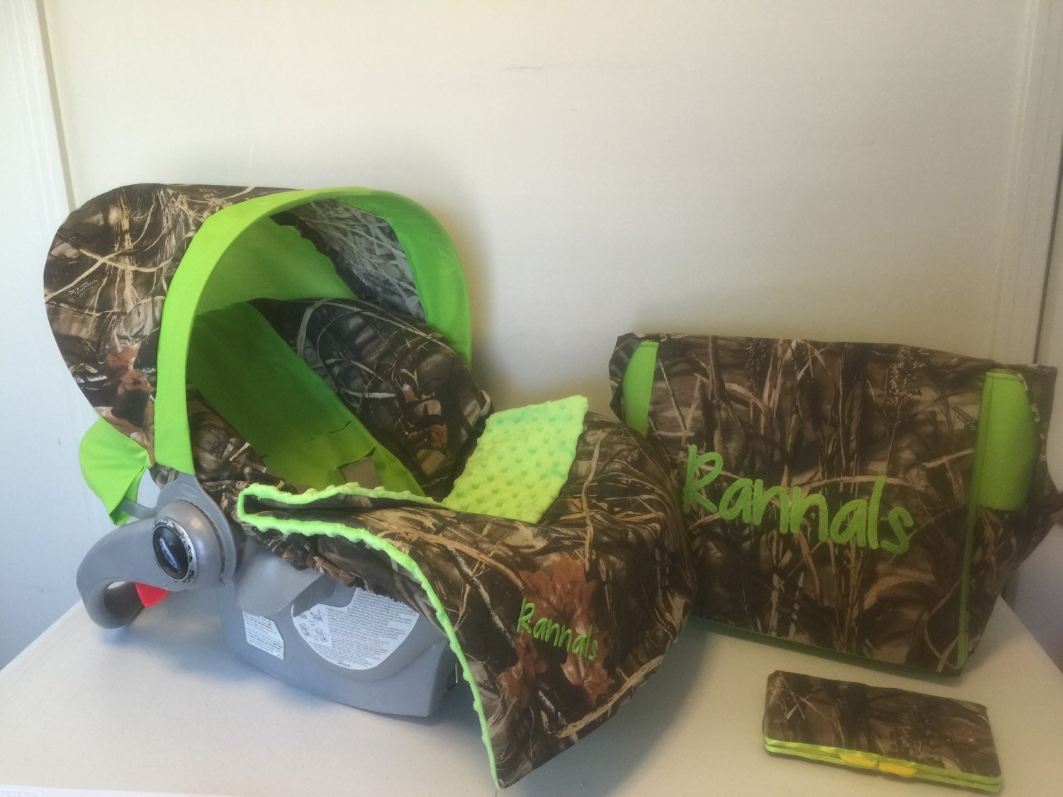 4 Piece Set Max 4 Camo Fabric Lime Green Infant Car Seat Cover