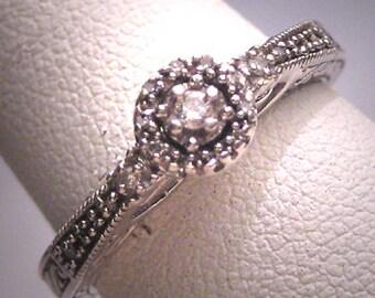 Estate Diamond Wedding Ring Vintage Setting Art Deco Detail Engagement