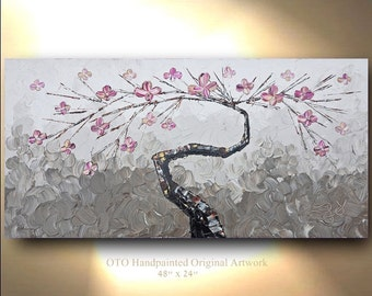 ORIGINAL Tree Painting Horizontal Hand painted Acrylic Oil Painting Tan Taupe Brown Metallic Gold Flower Pink Artwork Fine art canvas by OTO