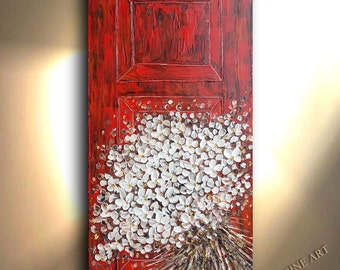 ORIGINAL Painting -  Impressionist Red Door White flower Contemporary Wall art on canvas Oil and Acrylic Impasto Red Flower Bouquet By Oto