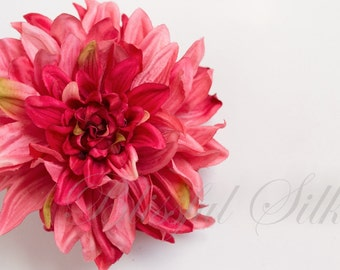 Silk Flowers - One Jumbo Boutique Quality Hot Pink and Fuchsia Dahlia  - 6 Inches - Artificial Flowers