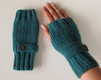 Fingerless Gloves in Deep Teal Green Aran Wool