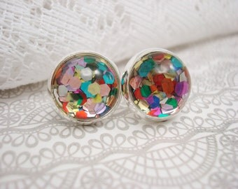 Confetti Earrings, Stud Earrings, Rainbow Earrings, Multicolored, Nail Polish Jewelry, Confetti Studs, Silver Stud Earrings, Rainbow Studs