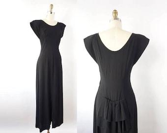 VINTAGE 1940s Black Dress Slim Gown Bustle Small