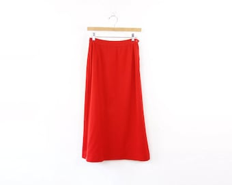 VINTAGE 1950s Red Skirt Pencil Long Small