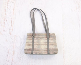 VINTAGE Grey Tapestry Shoulder Bag Pale Purse