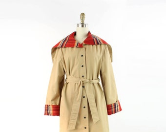 VINTAGE Trench Coat Plaid Flannel Hood Jacket