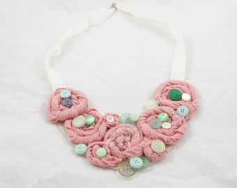 Necklace, Peach, Teal, Rose Necklace, Upcycled Jewelry, Recycled t-shirts, Shabby Chic, One Size Fits Most, turqouise, blue, cream, buttons