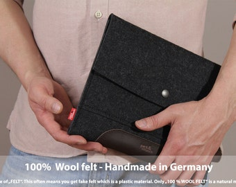 iPad Air 2 / Air case, cover, sleeve, 100% Merino wool felt, vegetable tanned leather - Merino ME-T-ADB-0.2