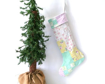 vintage quilt Christmas stocking, pastels, yellow blue pink green white, recycled, shabby chic, cottage chic, holiday decor