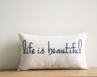 "life is beautiful decorative pillow cover, 12"" x 20"", motivational art, inspirational quote, word pillow, typography, industrial, for mom"