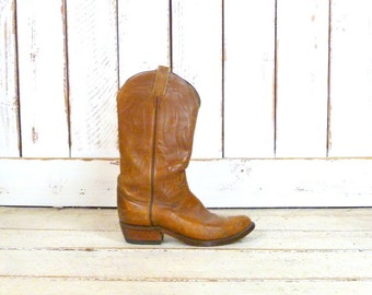 Vintage tan brown leather Tony Lama mens cowboy boots/country western boots