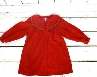 Toddler girls vintage red cotton corduroy Christmas holiday dress/red xmas frock