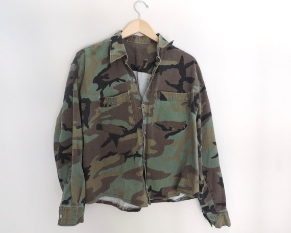 Vintage Camo Fatigue Button Up Shirt Size Large By