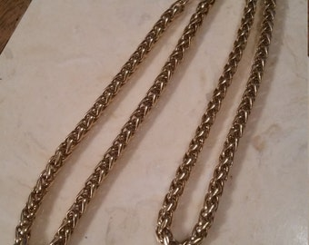Vintage Monet Gold Tone Metal Necklace