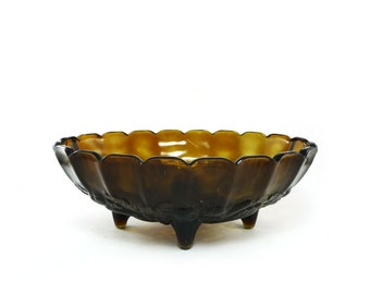 Large vintage brown glass glass fruit bowl, grape embossed, Indiana glass