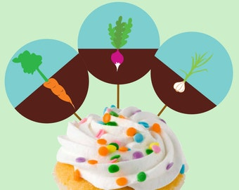 Instant Download Garden Party Cupcake Toppers or Craft Circles