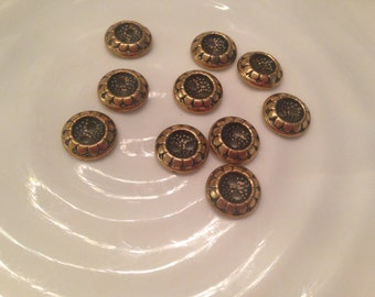 All the same -  10 gold metal 2 hole buttons