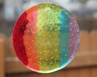 Rainbow Sun Catcher - Melted Plastic Beads 3F58Q